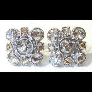 Chanel Earrings, baroque square cluster style